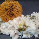 risotto thym citron brocoli a la sole et sa tuile de parmesan