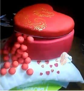 gâteau coeur sur un coussin thermomix