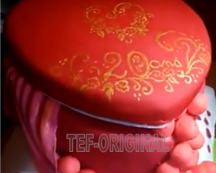 gâteau, thermomix, pâte a sucre , coeur, anniversaire , coussin