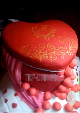 gâteau coeur sur un coussin , thermomix, pâte a sucre , coeur, anniversaire , coussin