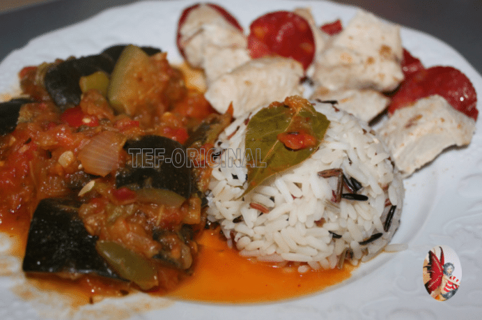 ratatouille riz cuit au varoma, chorizo au thermomix