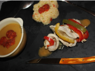 velouté courgette chorizo poulet poivrons semoule multicolore thermomix